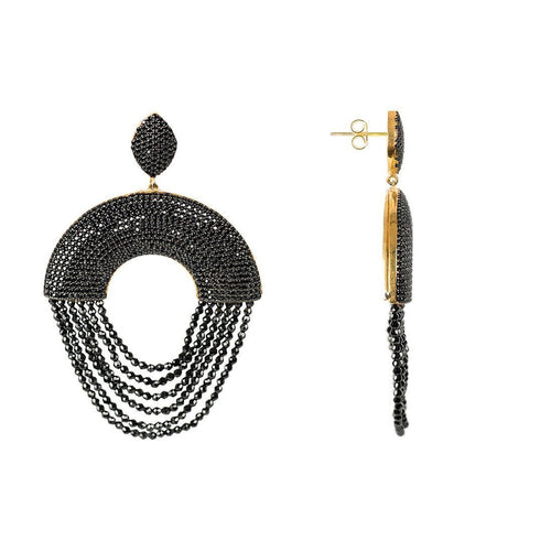 Monaco Earring Black Spinel-Earrings-Latelita London-JewelStreet
