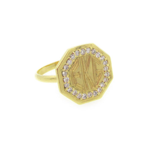 Monogram Octagon Ring with Diamonds-Rings-Emily & Ashley-JewelStreet
