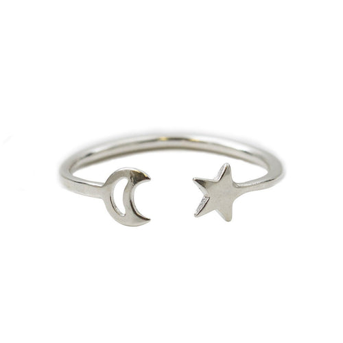 Moon And Star Open Ring Sterling Silver ,[product vendor],JewelStreet