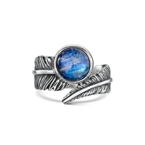 Moonstone Feather Silver Ring-Rings-Becky Rowe-JewelStreet