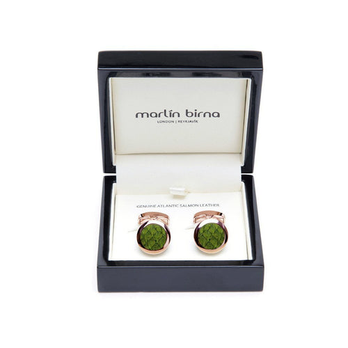 Atlantic Salmon Leather Cufflinks - Rose Gold Finished Stainless Steel With Olive Green-Cufflinks-Marlin Birna-JewelStreet
