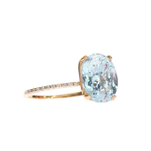 Oval Aquamarine Ring With Diamond Band-Rings-Oh my Christine Jewelry-JewelStreet