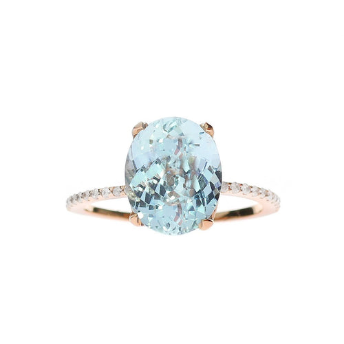 Oval Aquamarine Ring With Diamond Band ,[product vendor],JewelStreet