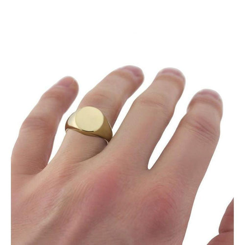 Oval-shaped 9kt Yellow Gold Extra-Heavyweight Signet Ring ,[product vendor],JewelStreet