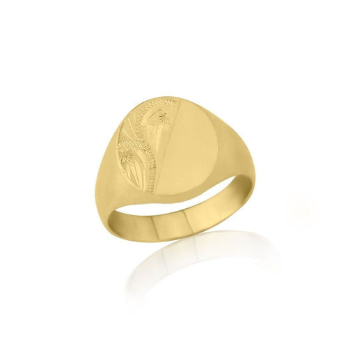 Oval-shaped 9kt Yellow Gold Heavyweight Engraved Signet Ring ,[product vendor],JewelStreet