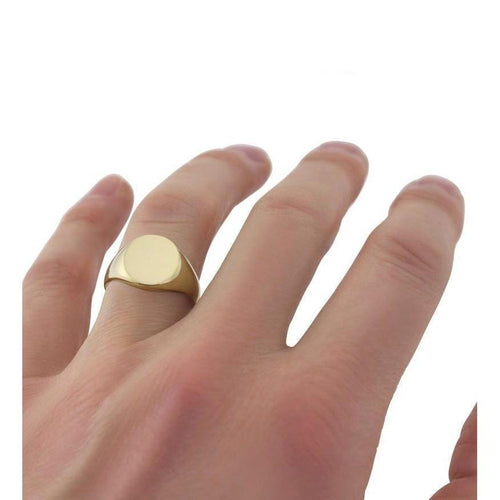Oval-shaped 9kt Yellow Gold Heavyweight Signet Ring ,[product vendor],JewelStreet