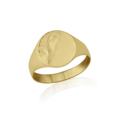Oval-Shaped 9kt Yellow Gold Lightweight Engraved Signet Ring ,[product vendor],JewelStreet