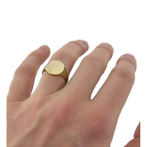 Oval-shaped 9kt Yellow Gold Medium Weight Engraved Signet Ring-Rings-Star Wedding Rings-JewelStreet