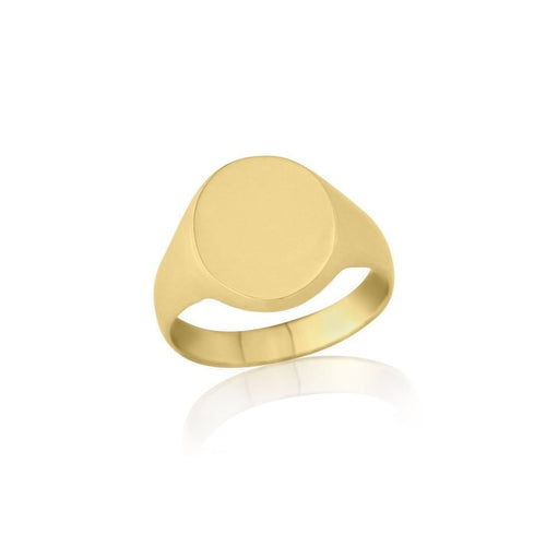 Oval-shaped 9kt Yellow Gold Medium Weight Signet Ring ,[product vendor],JewelStreet