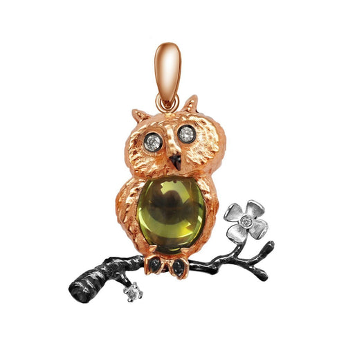 Owl Eden Pendant With Chrysolite ,[product vendor],JewelStreet