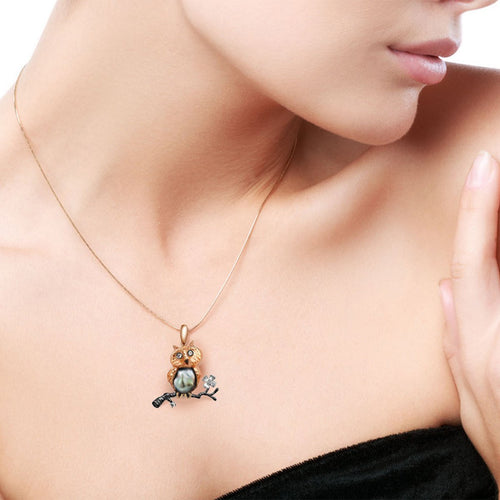 Owl Eden Pendant With Pearl ,[product vendor],JewelStreet