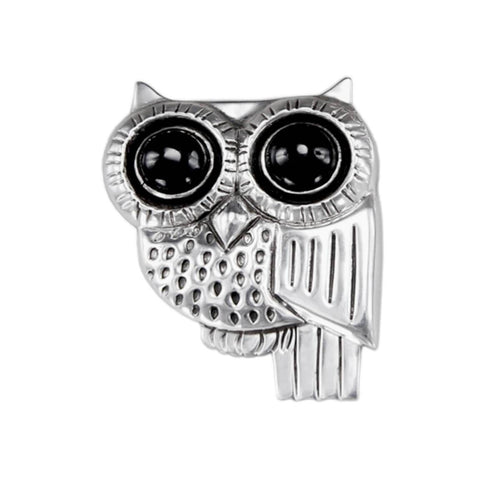 Owl Pin With Onyx ,[product vendor],JewelStreet