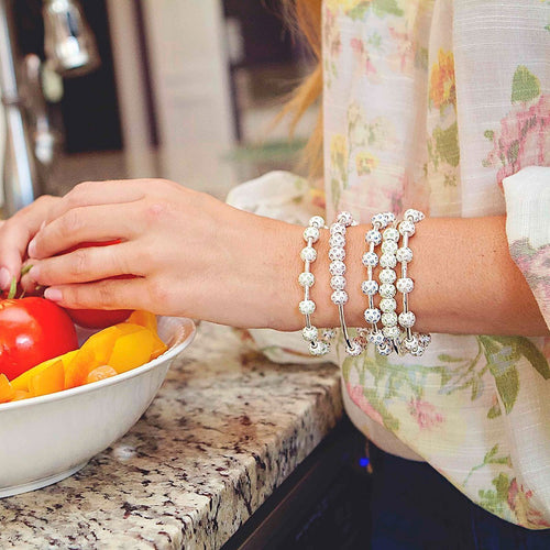 Pale Sapphire Crystal and Silver Bracelet-Bracelets-Chelsea Charles-JewelStreet