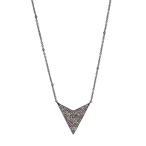 Pave Diamond Arrow Pendant On Sterling Silver Chain-Necklaces-Heather Kenealy Jewelry-JewelStreet