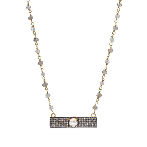 Pave Diamond Bar With Iolite On Iolite Necklace-Necklaces-Heather Kenealy Jewelry-JewelStreet