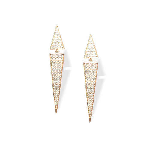 Pave Diamond Triangle Drop Earrings ,[product vendor],JewelStreet