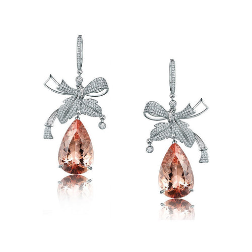 Pear Cut Morganite Bow Earrings-Earrings-SILVER YULAN-JewelStreet
