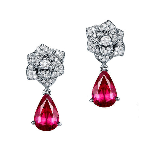 Pear Cut Red Tourmaline Flower Earrings-Earrings-SILVER YULAN-JewelStreet