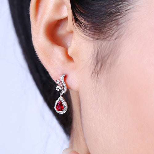 Pear Cut Ruby Diamond Earrings - 1.0ct Rubies-Earrings-SILVER YULAN-JewelStreet