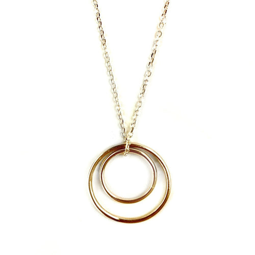 Pendant Vermeil Double Loop On Silver Chain-Necklaces-FRAN REGAN JEWELLERY-JewelStreet