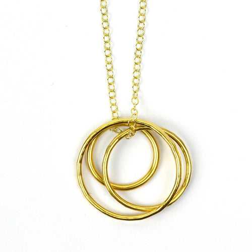 Pendant Vermeil Trio Loop On Gold Chain-Necklaces-FRAN REGAN JEWELLERY-JewelStreet