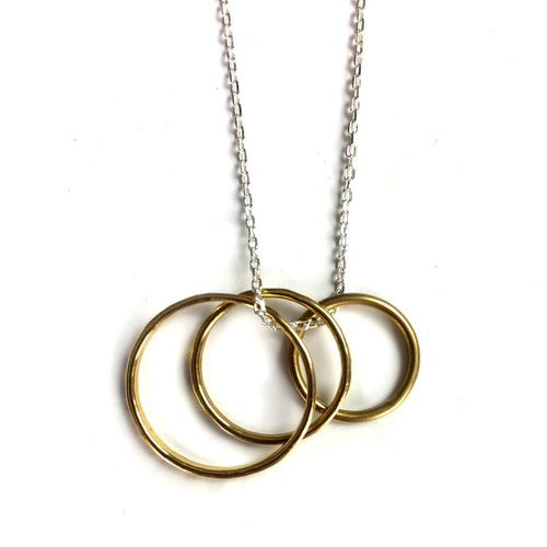 Pendant Vermeil Trio Loop On Silver Chain-Necklaces-FRAN REGAN JEWELLERY-JewelStreet