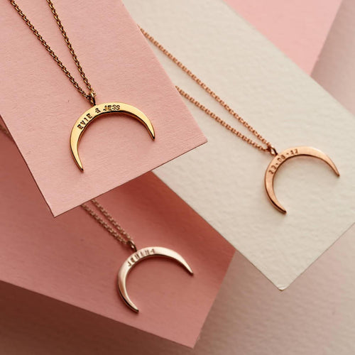 Personalised Crescent Horn Necklace Yellow Gold Plated ,[product vendor],JewelStreet