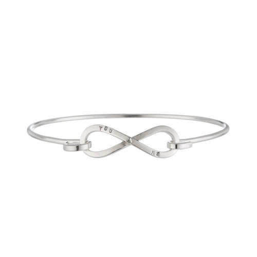 Personalised Infinity Open Bangle-Bracelets-Posh Totty Designs-JewelStreet