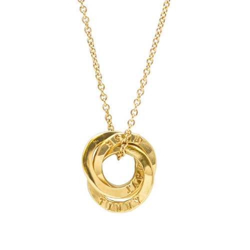 Personalised Mini Satin Hammered Russian Ring Necklace Yellow Gold Plated ,[product vendor],JewelStreet