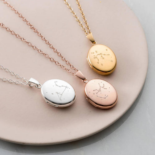 Personalised Zodiac Constellation Locket Necklace Rose Gold Plated ,[product vendor],JewelStreet