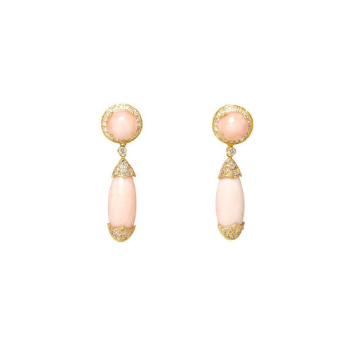 Pink Coral & Diamond Drop Earrings ,[product vendor],JewelStreet