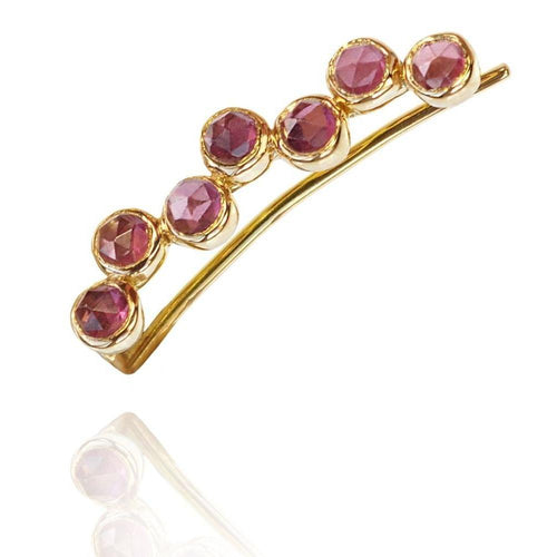 Pink Garnet Ear Cuff Right 18kt Gold-Earrings-Perle de Lune-JewelStreet