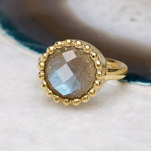 Portobello Labradorite Gold Cocktail Ring-Rings-Sharon Mills London-JewelStreet
