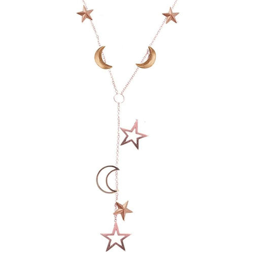 Portobello Rose Gold Star and Moon Starry Night Necklace-Necklaces-London Road Jewellery-JewelStreet