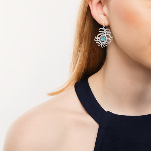 Portobello White Gold Blue Zircon Peacock Drop Earrings-Earrings-London Road Jewellery-JewelStreet