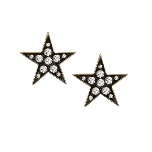 Portobello Yellow Gold Rose Cut Diamond Star Starry Night Earrings-Earrings-London Road Jewellery-JewelStreet