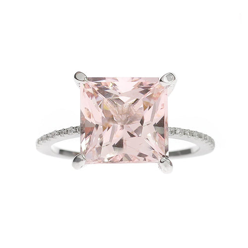 Princess Cut Pink Morganite Ring-Rings-Oh my Christine Jewelry-JewelStreet