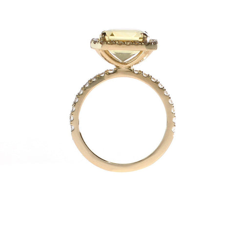 Radiant Cut Yellow Citrine Ring With Diamond Halo-Rings-Oh my Christine Jewelry-JewelStreet