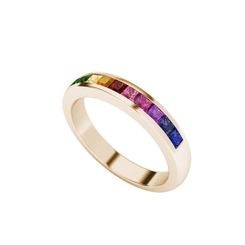 Rainbow Ring in 9kt Rose Gold-Rings-StyleRocks-JewelStreet