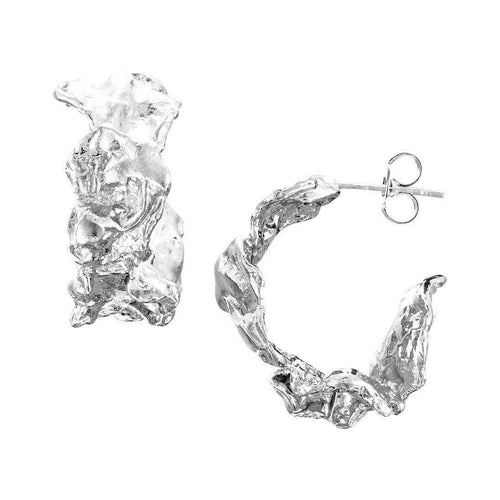 Rippled Wide Hoop Sterling Silver Earrings ,[product vendor],JewelStreet