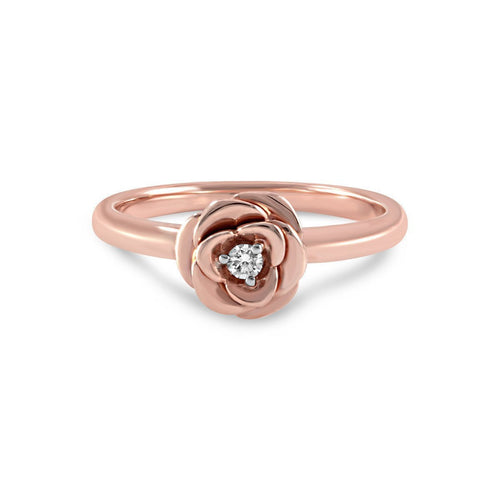 Rose Diamond Rose Gold Ring-Rings-Estenza-JewelStreet