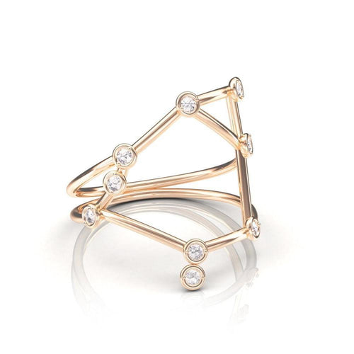 Rose Gold Libra Star Sign Constellation Ring-Rings-Jessie V E-JewelStreet
