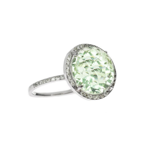 Round Green Amethyst Diamond Halo Ring-Rings-Oh my Christine Jewelry-JewelStreet
