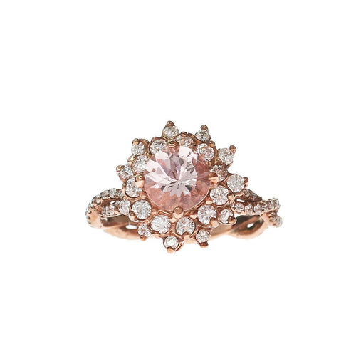 Round Morganite Ring With Double Halo-Rings-Oh my Christine Jewelry-JewelStreet