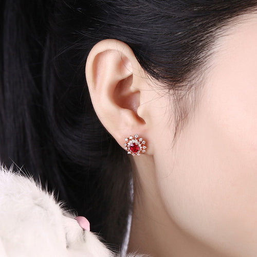 Ruby Diamond Studs-Earrings-SILVER YULAN-JewelStreet