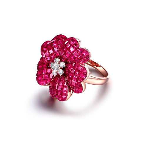 Ruby Flower Cocktail Ring-Rings-SILVER YULAN-JewelStreet