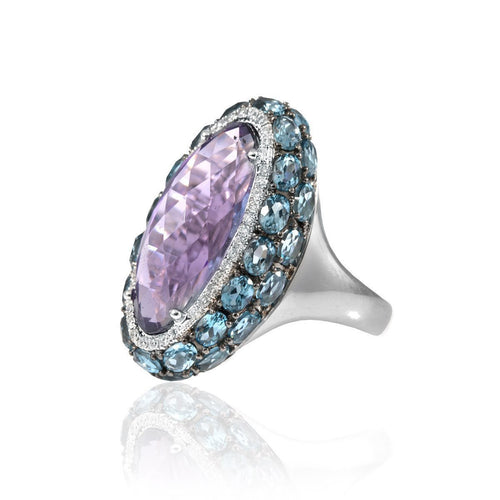 Sarah White Gold Amethyst Ring-Rings-Estenza-JewelStreet