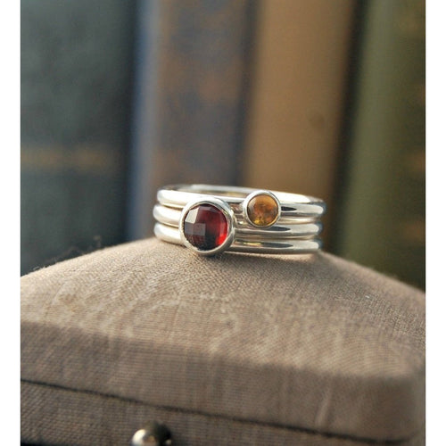 Secrets Garnet Stacking Ring Set ,[product vendor],JewelStreet