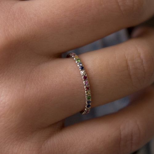Silver & Rainbow Demi Pointe Ring-Rings-XISSJEWELLERY-JewelStreet