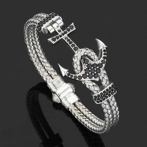 Silver & White Gold Plated Anchor Bracelet ,[product vendor],JewelStreet